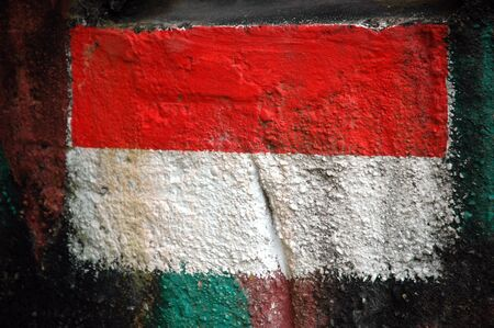 Indonesian flag painted on the wall Stock Photo