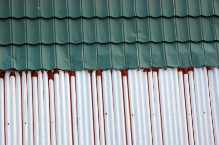 corrugated iron: old and new tin roof background