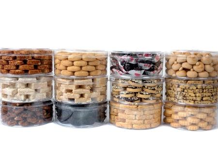 Apilar de diversos tipos de pastas en un tarro transparente embalaje Foto de archivo - 14677146
