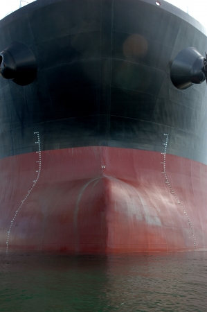 hull: the bow of a big tanker ship, which was anchored in the middle of the ocean