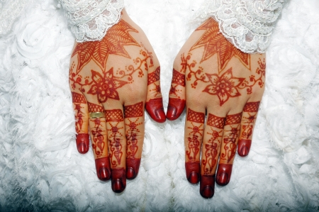 art show: Henna On Hands Of Indonesian Wedding Bride Stock Photo