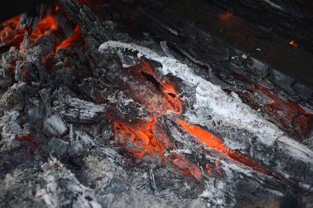embers: embers on firewood Stock Photo