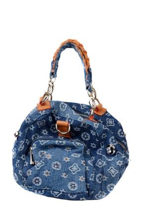 blue denim handbag on white background