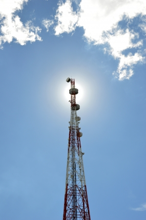 telecommunications tower against the sunshine photo