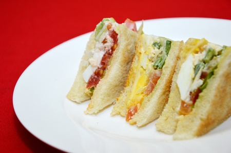 egg sandwich bread on white plate photo