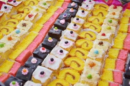 pattern of sweet colorful various cakes photo