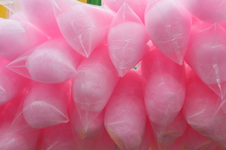 pink cotton candy retail in plastic packaging