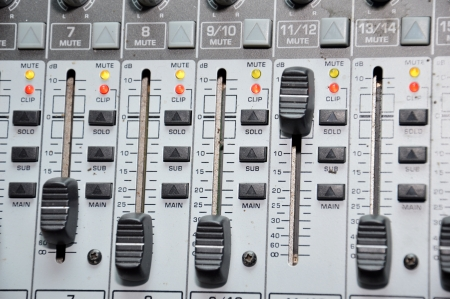 fader: details of the control board sound mixer Stock Photo
