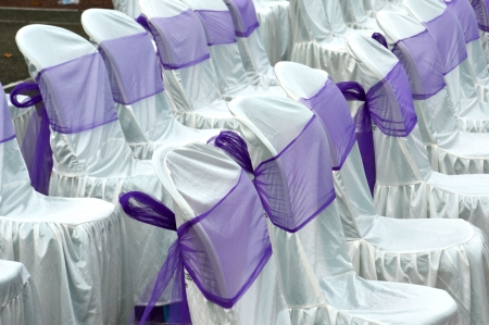 purple color decorative cloth wrapping seats Stock Photo - 22881428