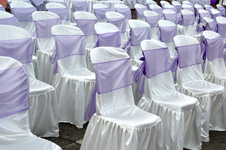 purple color decorative cloth wrapping seats Stock Photo - 22881429