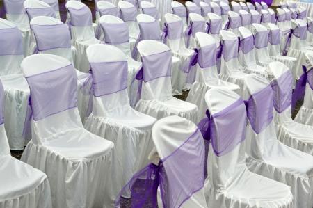 purple color decorative cloth wrapping seats  Stock Photo - 22881453