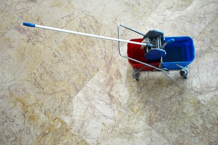 top view of red and blue mop floors