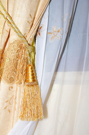 golden silk curtain photo