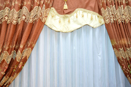 golden and brown of silk curtain photo
