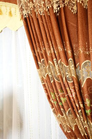 golden and brown silk curtain photo