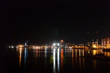 celebes: panorama of the city of Makassar, Indonesia at night time