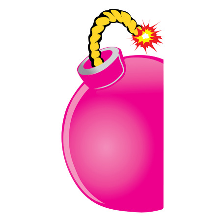 a pink bom with a burning fuse Vector