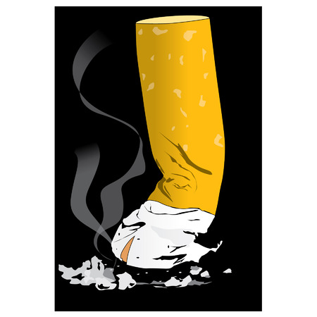 vices: cigarette butts on black background