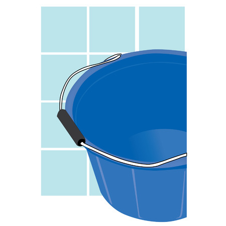 scuttle: empty blue bucket with porcelain wall background