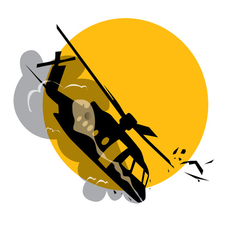 yelow: helicopter crash with yelow sun background