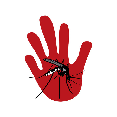 mosquito with red palm of the hand Vector