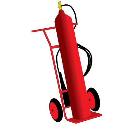 red fire extinguisher on white background Vector