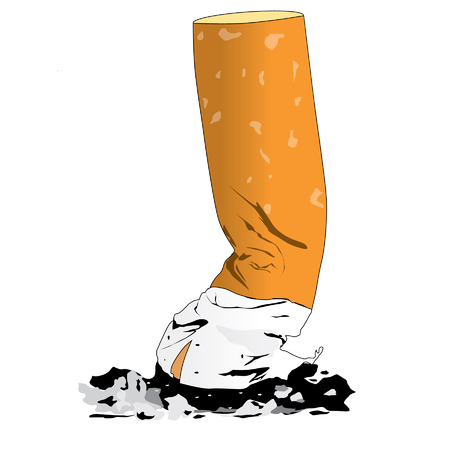 vices: cigarette butts on white background
