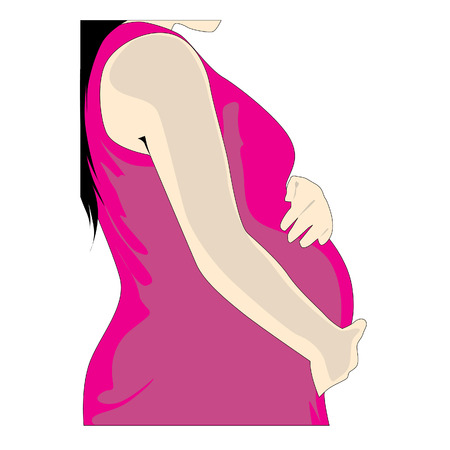Pregnant women dressed in pink holding belly