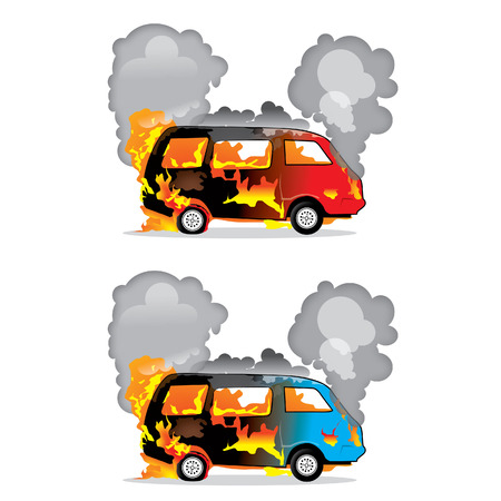 casualty: red and blue burning cars crash  Illustration