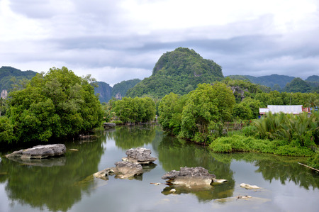 karst: Rammang-rammang river on Maros, Indonesia