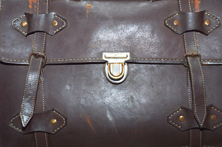 leather bag: detailed of old brown leather bag Stock Photo