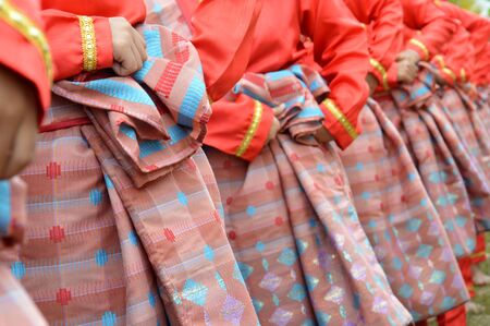 sarong: Indonesian woven silk sarong wear by trational dancers