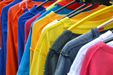 T-shirts drying on hangers