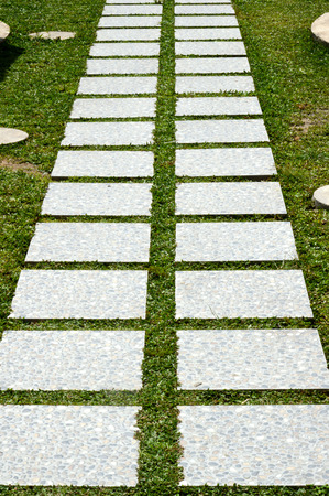 curvaceous: a curvaceous foothpath made of concrete blocks across the grass