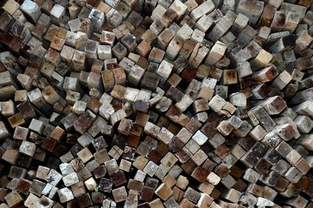 sawed: pattern on stacks of old logs background Stock Photo