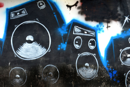 sub woofer: sound speaker graffiti painting on the white wall