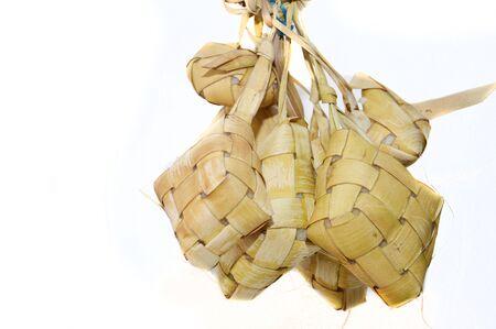 traditonal: ketupat, indonesian traditonal food isolated on white background