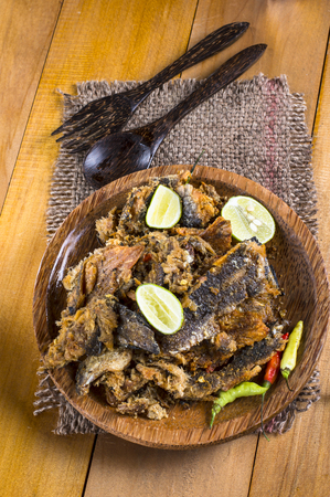 snake head fish: Bette bale bolong rakko, an Indonesian traditional side dish, is dried snakehead fish fry crushed and mixed with chili and lemon