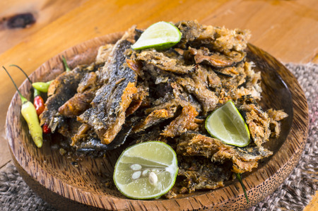 Bette bale bolong rakko, an Indonesian traditional side dish, is dried snakehead fish fry crushed and mixed with chili and lemon