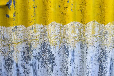 detail: old yellow zinc wall background Stock Photo