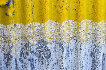 modern architecture: old yellow zinc wall background Stock Photo