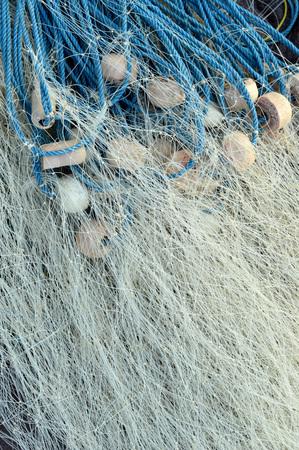 bretagne: fishing nets with blue plastic rope Stock Photo