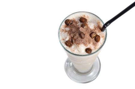 cappucino: cappucino milkshake drink on white background