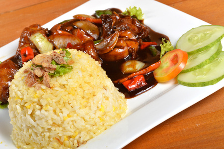 lemak: Nasi lemak, Asian traditional rice meal on wooden table