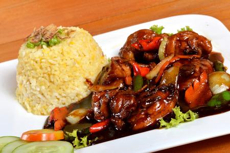nasi: Nasi lemak, Asian traditional rice meal on wooden table