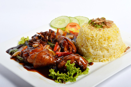lemak: Nasi lemak, Asian traditional rice meal on white table