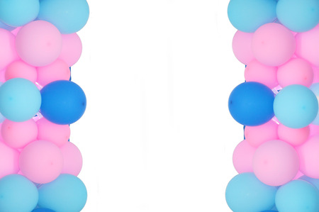 birthday presents: balloons frame on blank white background