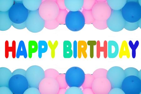 birthday greetings: feliz cumplea�os texto con el marco de los globos