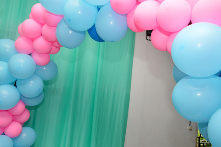 background design: balloons gate on the birthday party Stock Photo