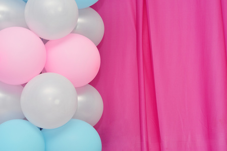 balloons frame on blank pink curtain  background Stock Photo